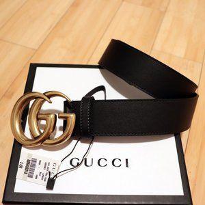 Black Leather Marmont Brass GG Buckle Belt